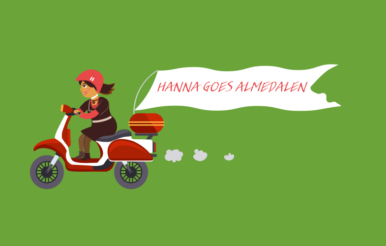 Hanna on bike with caps lettering (1)