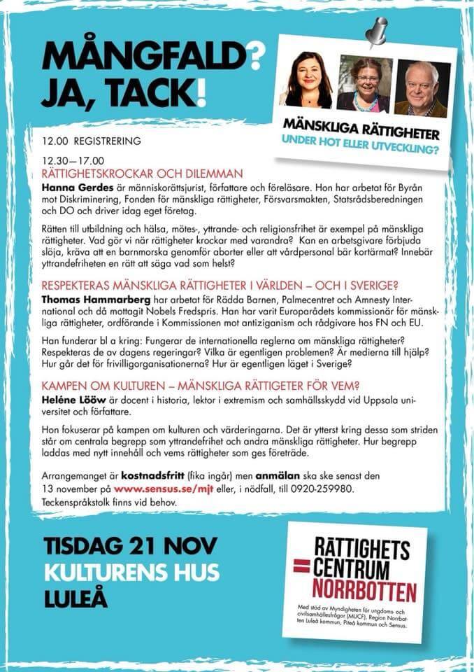 Hanna and Goliath föreläser på konferens om mänskliga rättigheter i Luleå