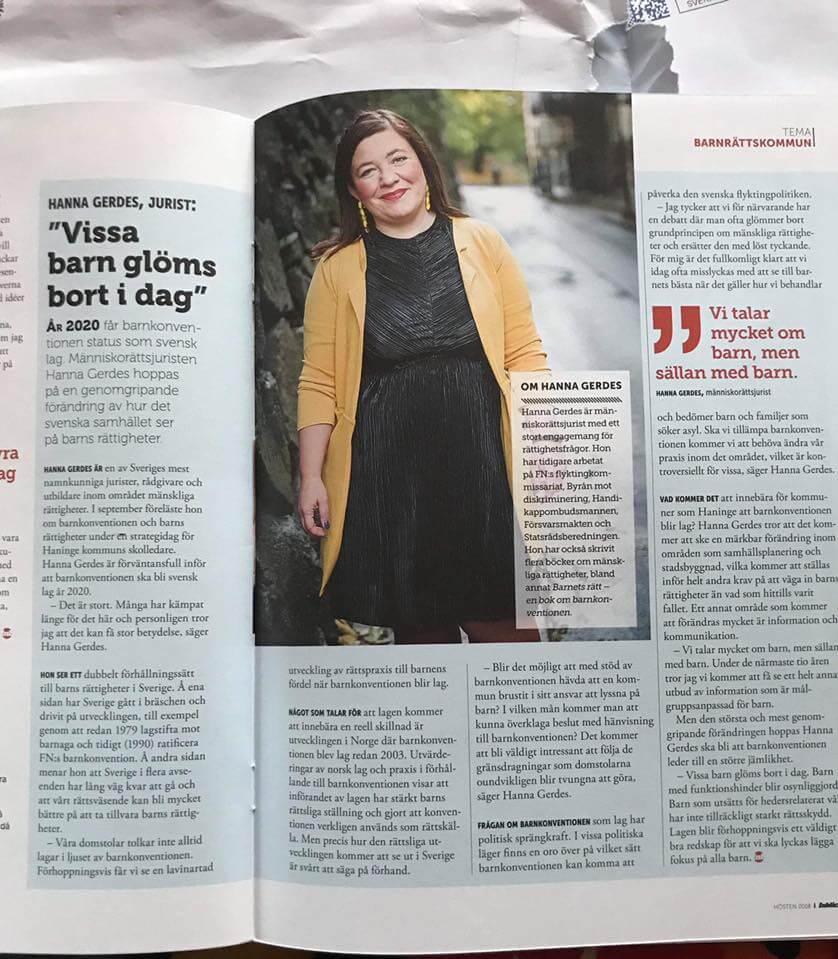 Intervju med Hanna Gerdes om barnets rättigheter i Haninges kommuntidning