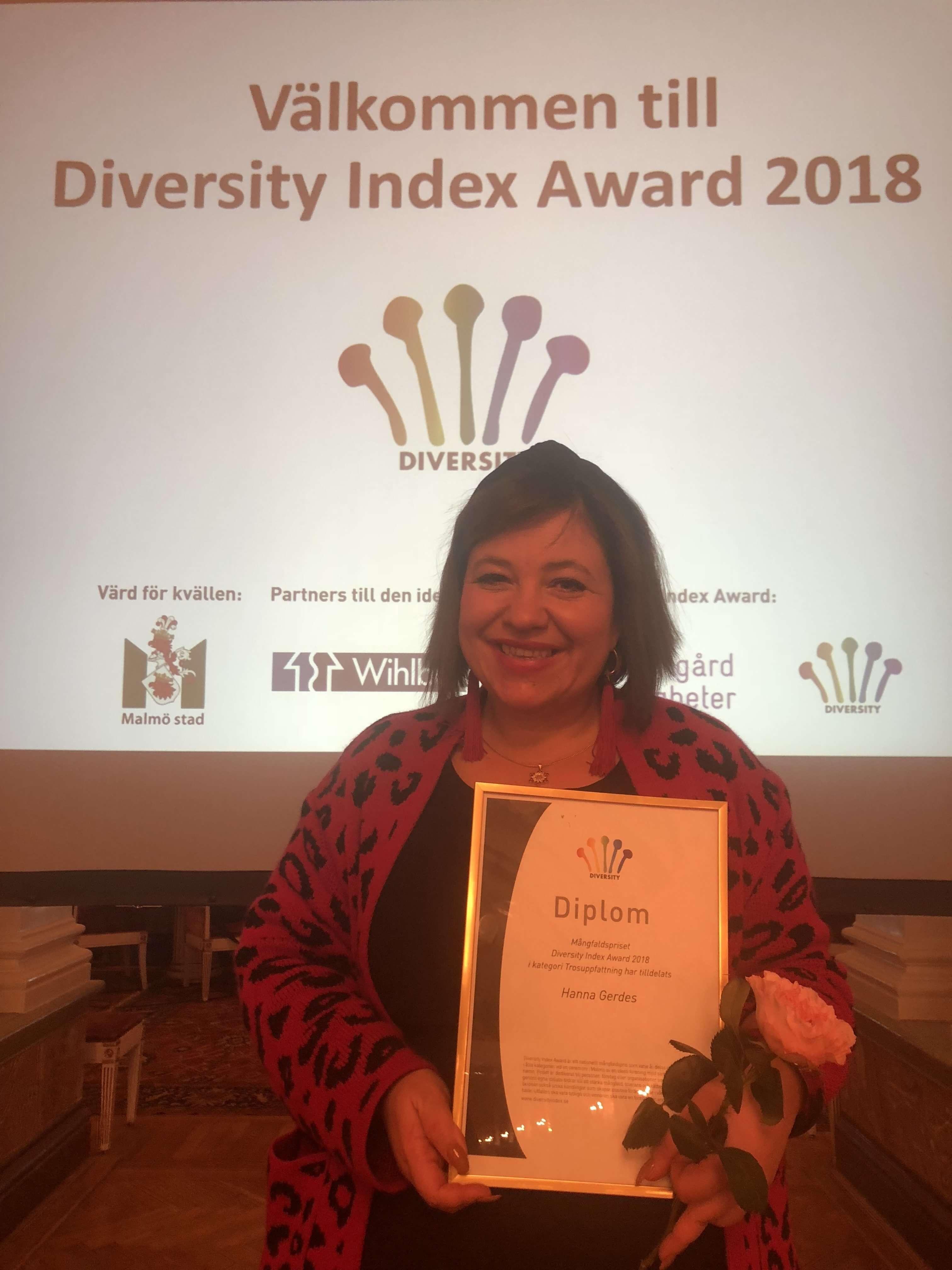 Hanna Gerdes är vinnare av 2018 års Diversity Index Awards
