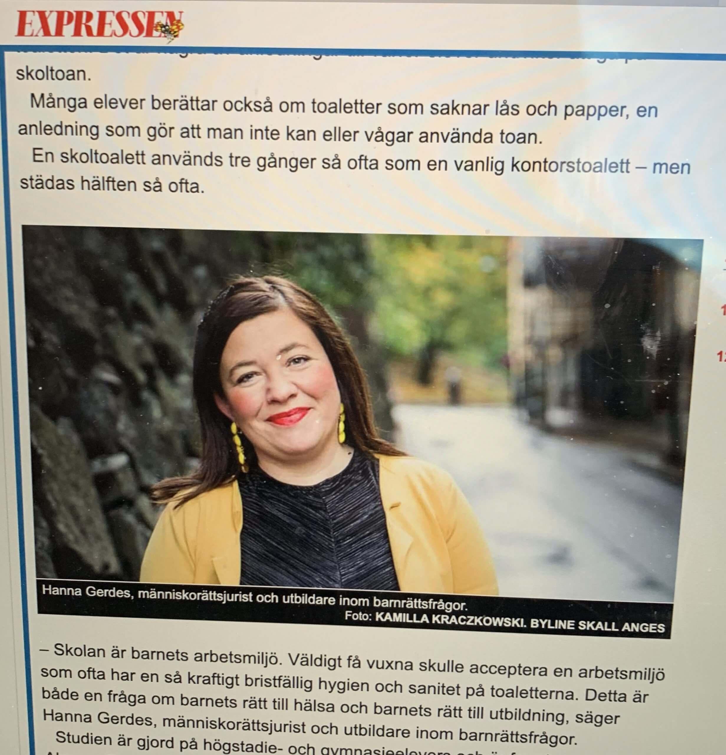 Hanna Gerdes intervjuas i Expressen angående barnets rättigheter